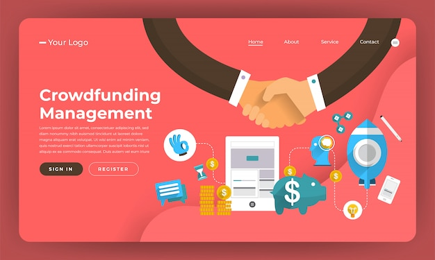 Website concept digitale marketing. beheer van crowdfunding. illustratie.