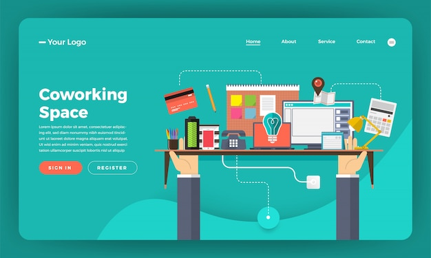 Website concept digitale marketing. coworking space center. illustratie.