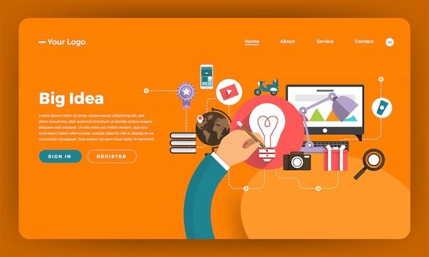 Website concept digitale marketing. groots idee. illustratie.