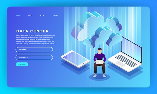 Website concept server hosting informatie. illustratie.