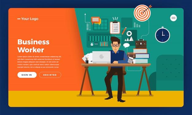 Website concept werktijden werknemer op kantoor. illustratie.
