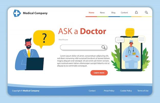 Website conceptontwerp voor medische hulpbronnen. online arts onmiddellijke hulpaanpak. zakelijke oplossing voor de gezondheidszorg.