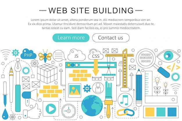 Website die het platte lijnconcept bouwt
