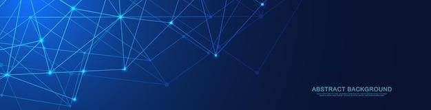Website header of banner ontwerp met abstracte geometrische achtergrond en aansluitende punten en lijnen.