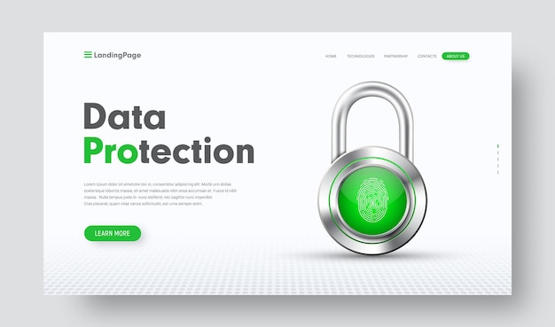 Website-header voor informatiebescherming met chromen slot en vingerafdruk