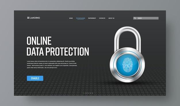 Website-header voor online bescherming van informatie met chromen slot en vingerafdruk.
