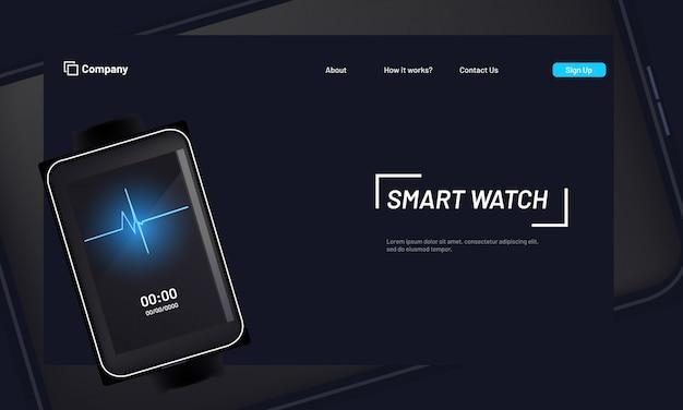 Website-heldafbeelding of bestemmingspagina met slim horloge.