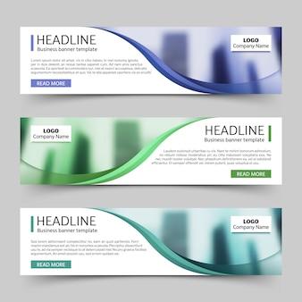 Website horizontale zakelijke banners vector sjabloon. bannermalplaatje bedrijfsconcept met embleem en hersenillustratie
