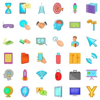 Website iconen set, cartoon stijl