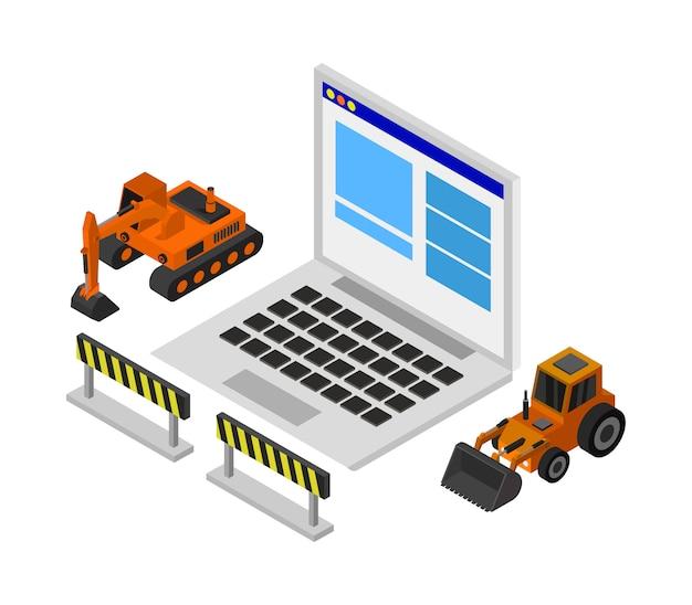 Website in aanbouw isometrisch Premium Vector