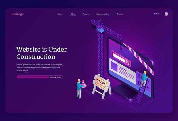 Website in aanbouw isometrische bestemmingspagina Gratis Vector
