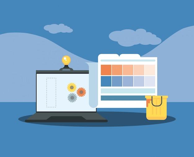 Website in aanbouw met desktopcomputer