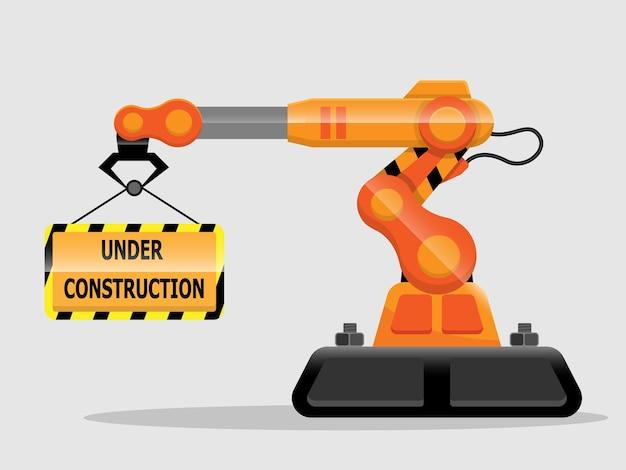 Website in aanbouw met het platte ontwerp van de robotarmillustratie