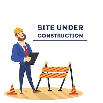 Website in aanbouw pagina. lopende werkzaamheden. man herstelt de startpagina op internet. illustratie in cartoon-stijl.