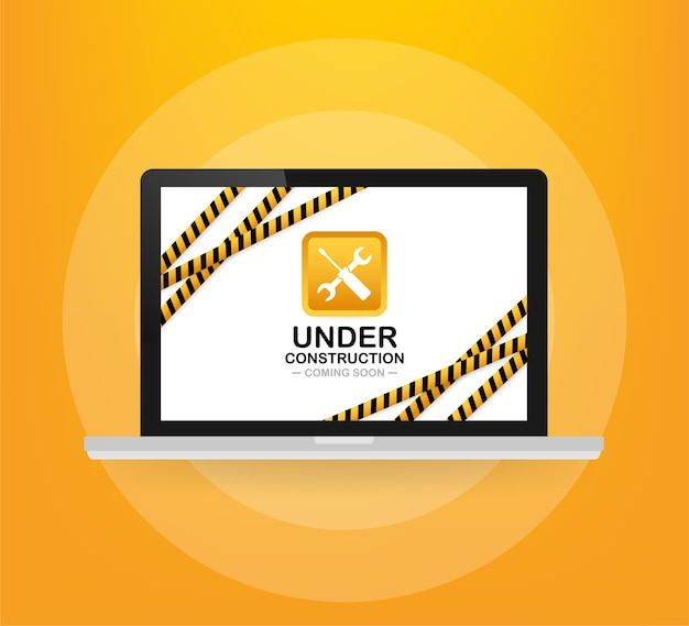 Website in aanbouw teken op laptop