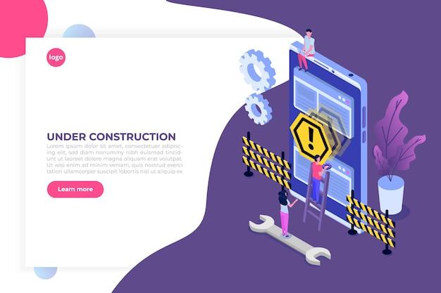 Website in ontwikkeling, website in aanbouw Premium Vector