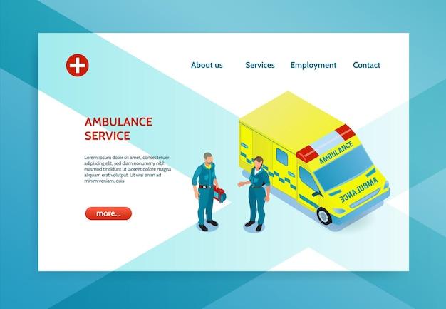 Website-indeling met isometrische illustratie met twee artsen en gele ambulanceauto