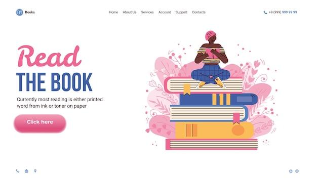 Website-interface met vrouw lezen op stapel boeken platte vectorillustratie