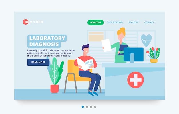 Website, laboratoriumdiagnose, overleg met een arts. binnenland van spreekkamer met karakters arts en patiënt bij ontvangst. verhuuranalyses in het laboratorium of kliniek.
