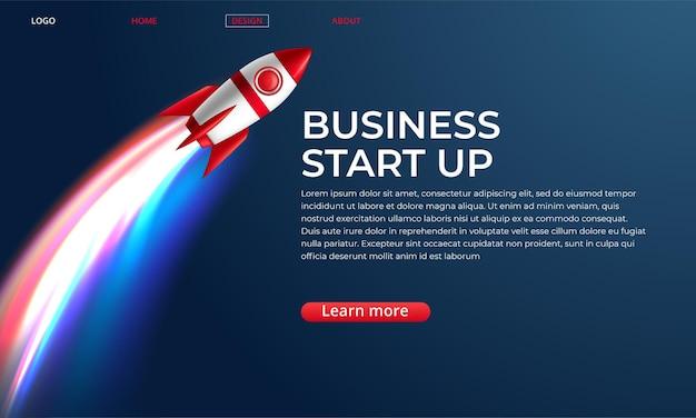 Website landing homepage met raket