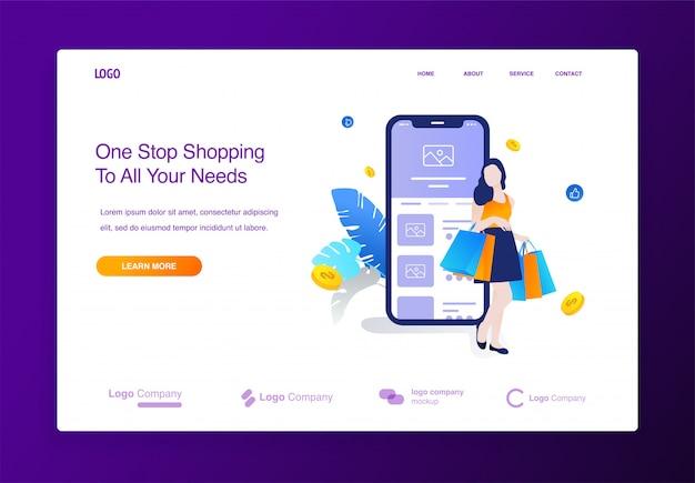 Website met gelukkige vrouwen die online winkelen, grote illus van het de toepassingsconcept van de verkoop mobiele