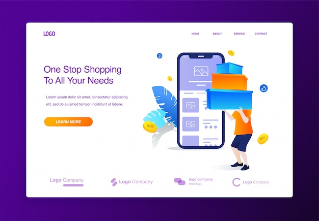 Website met man die online winkelen, grote verkoop met illustra van het mobiele toepassingsconcept