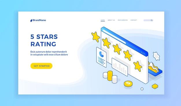 Website met vijf sterren beoordeling