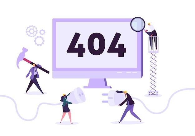 Website onder constructie. pagina-onderhoud met personages werknemers in uniform repareren netwerkprobleem. webpagina niet gevonden.