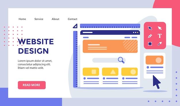 Website-ontwerp draadframe liniaal op monitorcampagne voor de startpagina van de startpagina van de website
