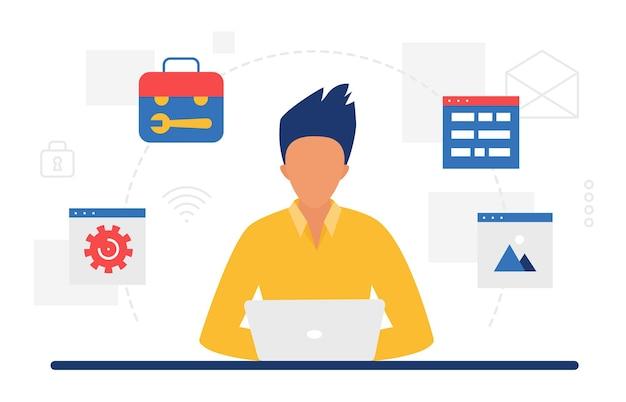 Website ontwerp mobiele app ontwikkelingstechnologie concept met designer ontwikkelaar man
