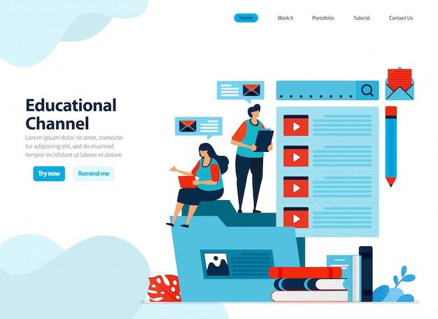 Website-ontwerp van educatieve videokanalen verzamelen en organiseren leervideo's