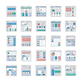 Website ontwerpen platte pictogrammen pack is hier. als u geïnteresseerd bent in webdesign, webhosting, videografie, webcommunicatie, enzovoort, grijp dan deze kans en gebruik deze op relevant gebied.