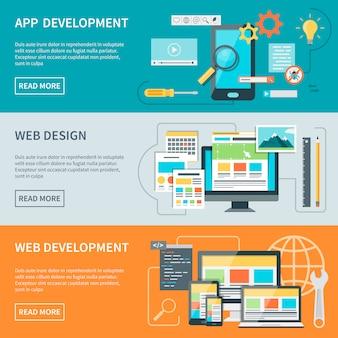 Website ontwikkeling banners Gratis Vector