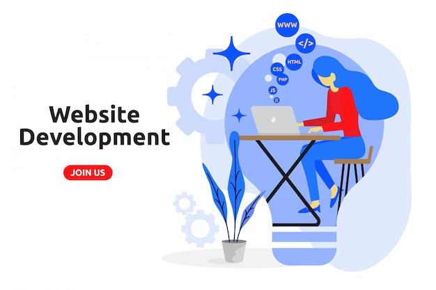 Website ontwikkeling concept moderne platte ontwerp