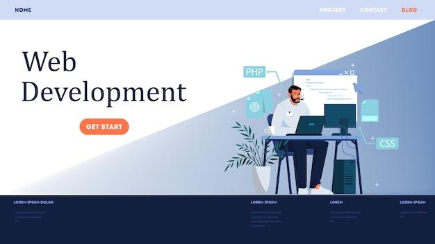 Website ontwikkeling horizontale banner. webpagina programmeren en responsieve interface op computer maken. programmeren en coderen, website maken. computer technologie. illustratie