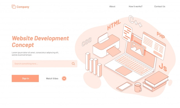 Website ontwikkelingsconcept, responsief ontwerp van bestemmingspagina's.