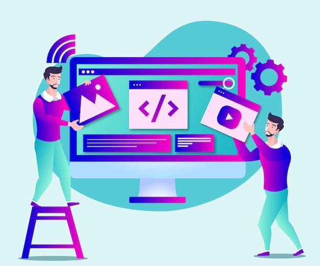 Website-pagina-ontwikkeling of website-onderhoud illustratie