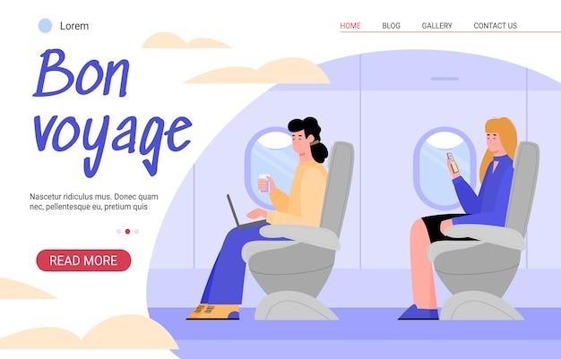 Website pagina voor reisbureau met vliegtuigpassagiers