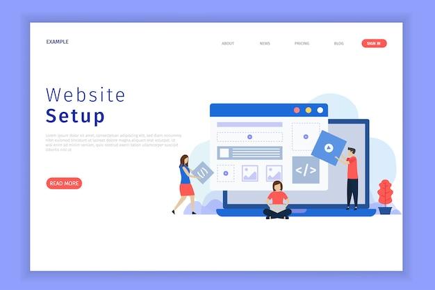 Website setup illustratie webpagina.