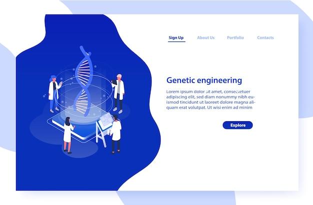 Website sjabloon met een groep wetenschappers of onderzoekers die het dna-molecuul analyseren.