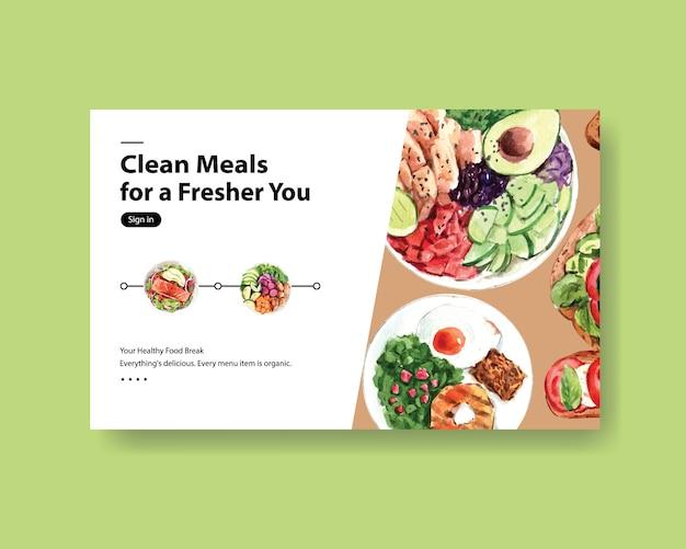 Website sjabloon met gezond en biologisch voedselontwerp