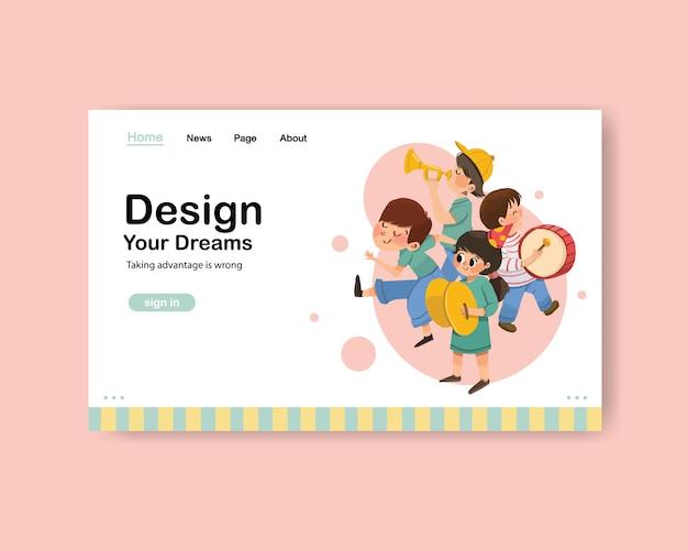 Website sjabloon met jeugddag ontwerp