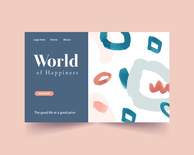 Website sjabloon met winkelen ontwerp voor internet en online community aquarel illustratie