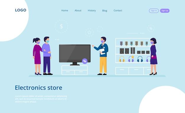 Website sjabloon samenstelling op blauw van mannelijke en vrouwelijke personages maskers dragen in de winkel Premium Vector