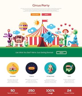 Website sjabloon voor circus en carnaval feest