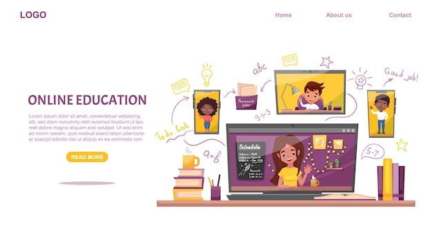 Website sjabloon voor e-learning. online onderwijs. klasgenoten met laptop en smartphone studeer thuis