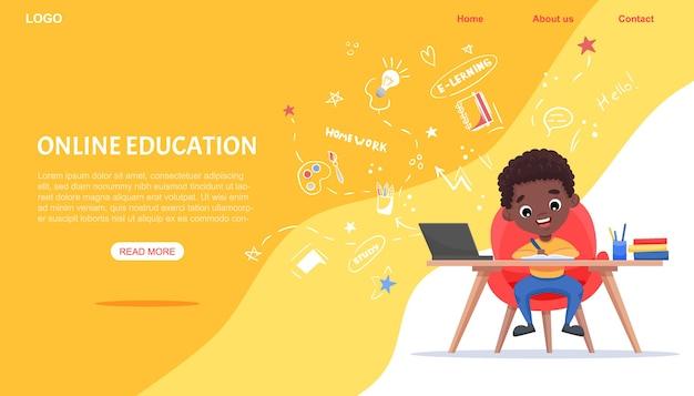 Website sjabloon voor online onderwijs. e-learning concept. afro-amerikaanse zwarte jongensstudies met laptop.