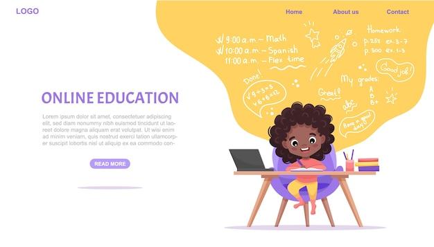 Website sjabloon voor online onderwijs. e-learning concept. afro-amerikaanse zwarte meid studeert online.