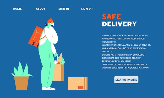 Website sjabloon voor veilige bezorgservice. ononderbroken levering tijdens coronavirusquarantaine.