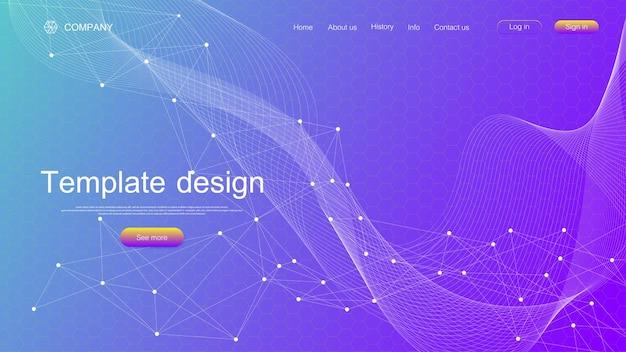 Website sjabloonontwerp. asbtract wetenschappelijke achtergrond met kleurrijke dynamische golven, zeshoekig innovatiepatroon. moderne bestemmingspagina voor websites of apps. vector illustratie.